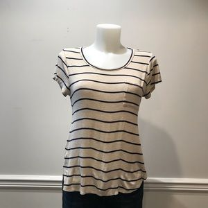 Love J stretchy long in back striped t- shirt